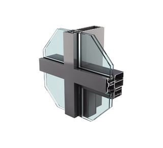 Long Life Time Aluminum Unitized Glass Curtain Wall Profiles System for Facade